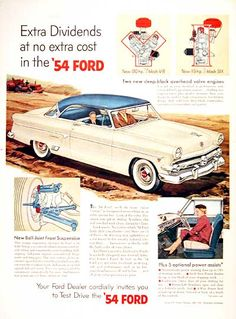1954 Ford Victoria Crestline Coupe vintage ad. Available with a V8 or Inline Six engine, 5 optional power assist functions and ball joint front suspension.