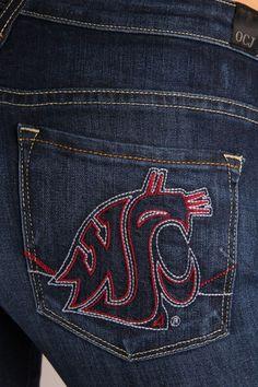 OCJ Apparel   Premium Collegiate Denim   Washington State Cougars Skinny Jeans Branded in Deep Indigo   www.ocjapparel.com Kappa Delta, Jeans Brands, Washington State, Sewing Ideas, Indigo, College, Skinny Jeans, Football, Doll