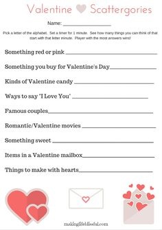 Perfect for school parties, couples, and friends! Free printable Valentine's Scattergories game for kids or school parties. Perfect game for Valentine's Day for all ages! Valentines Day Party, Valentine Day Crafts, Printable Valentine, Valentine Ideas, Valentines Games For Couples, Valentine Games, Valentine Activities, Valentine Special, Valentine's Day Party Games