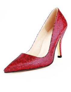 Sexy Red Heels Snakeskin PU Patent Leather Pointy Toe Fashion Shoes