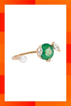 Delfina Delettrez has Italian craftsmanship in her ruby-red blood (her great-grandparents Adele and Edoardo Fendi founded the fashion house Fendi). Her surrealist designs are artworks in their own right and worth the investment. This 18kt yellow-gold ring is moulded with an open top to give the illusion that the single pearl and claw-set green topaz stone, embellished with marquise and round-cut white diamonds, are floating on your hand. Diamond, topaz, pearl & yellow-gold ring, £975 at…