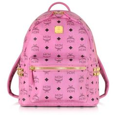 MCM Pink Small Stark Backpack ($660) ❤ liked on Polyvore featuring bags, backpacks, mcm, pattern backpack, knapsack bags, pink studded bag and print backpacks