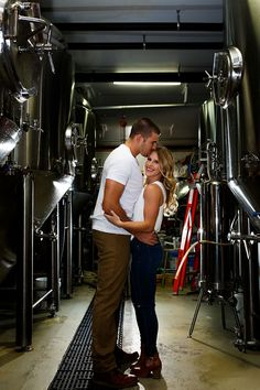 Craft beer brewery engagement session.