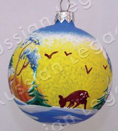 "Russian Legacy | Folk Art - Christmas Ornaments - ""Winter Landscape"" Glass Christmas Ornament"