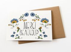 Thank You Card - Wedding Thank You Card - Merci Beaucoup Card - Floral…