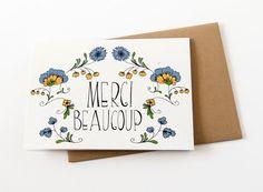 Thank You Card - Wedding Thank You Card - Merci Beaucoup Card - Floral…
