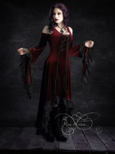 Elisa Romantic Gothic Velvet Dress Hand Made in XS/S/M/L/XL/2X - Dark Romantic Couture and Fairy Tale Dresses
