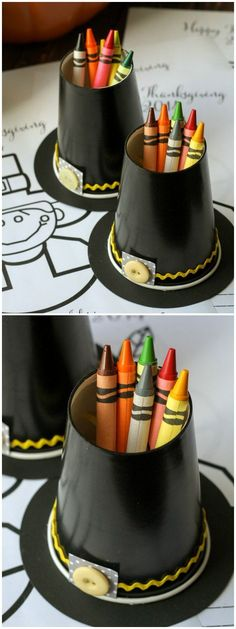 Cute and Simple Pilgrim Hat Crayon Cups by liluna: Perfect for theThanksgiving kids' table. #Crafts #Kids #Thanksgiving
