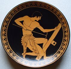 Copia dipinta a mano da una antica kylix greca di MITOliberty, carpenter painter, british museum. #handpainted replica #plate from ancient #greekart