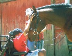 """Therapeutic riding with """"Charlie"""", a Registered Morgan previously en route to slaughter, rescued by LBF in 2001 at the age of"""