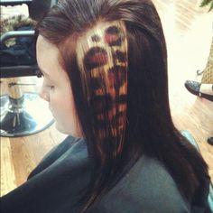 Awesome Cheetah print hair strip done by Anna!