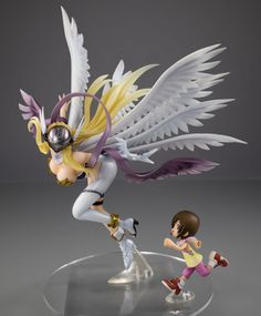 Digimon Adventures - Angewomon & Hikari: The G.E.M series digivolves with the introduction of Angemon and Angewomon! This figure of Angewomon comes with a small figurine of her partner Hikari! The sight of Hikari running alongside the majestic Angewomon will surely warm your heart!