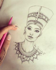Top Of 148 Ancient Egyptian Tattoos - The Most Complex Civilization Mandala Tattoo Design, Dotwork Tattoo Mandala, Mandala Drawing, Tattoo Designs, Cleopatra Tattoo, Nefertiti Tattoo, Tattoo Sketches, Tattoo Drawings, Art Drawings