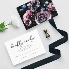 The artfully designed Romantic Bloom Wedding Invitation Suite combines hand-crafted watercolour blooms with elegant gold detail for a touch of extravagance.