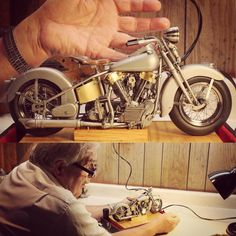 This is Jerry Kieffer and his 1/8 scale 47' Harley Davidson knucklehead he's building. It's about 85% complete. It is not a model, but a real bike. Every single part is scaled down. If you were small enough you could jump on and ride it like the full size. The speedometer works, it's a kick start, transmissions all the same... All of it works.