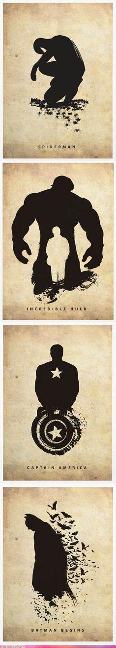Superhero Silhouettes - Spiderman, The Hulk, Captain America, Batman. The Spiderman one is my favorite! Marvel Dc Comics, Illustration, Comic Books Art, Book Silhouette, Art, Anime, Artsy, Poster, Superhero Silhouette