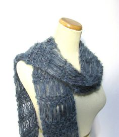 Moody Blue Hand Knit Scarf by ArlenesBoutique on Etsy, $45.00