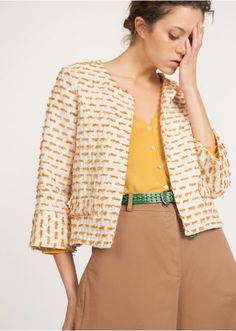 2bd2d7f6ccc Veste façon tweed coloris unique - vestes et manteaux femme - la