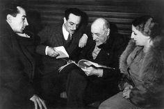 Luigi Pirandello with Peppino, Edoardo and Titina De Filippo, 1936.