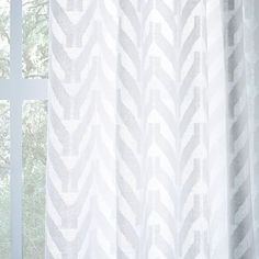 Sheer Chevron Curtain - White #westelm These would be great to separate the kitchen and living room!