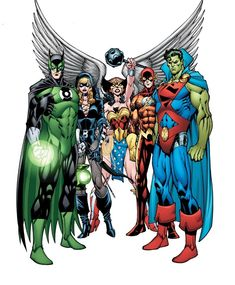 Earth JLA - Batman/Green Lantern (Emerald Knight), Black Canary/Green Arrow (Black Arrow), Hawk Girl/Wonder Woman (Winged Wonder), Aqua Man/Flash (Slipstream) and Superman/Martian Manhunter (Stranger) by Todd Nauck Dc Heroes, Comic Book Heroes, Comic Books Art, Comic Art, Arte Dc Comics, Geeks, Gi Joe, Dc World, Univers Dc