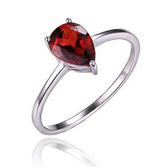 JewelryPalace Pear Natural Red Garnet Birthstone Solitaire Ring 925 Sterling Silver 2016 New Fashion Jewelry For Women Peridot And Amethyst, Mens Sterling Silver Necklace, Garnet Rings, Garnet Necklace, Garnet Stone, Emerald Stone, Delicate Rings, Argent Sterling, Gemstone Jewelry