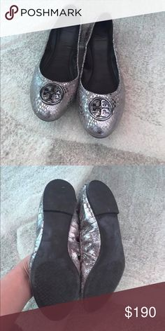 f85145e8c1198d Tory Burch Flats Tory Burch ballet flats. Size 9. Silvery-bronze metallic snake  skin. Great neutral color. In excellent condition
