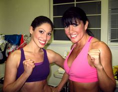 Actress #LisaCatara  with fitness guru Mia StJohn at Mia's #fitness DVD shoot in #Hollywood. (#Actresses #actors #TV #film #television #filmmaking #cleveland #Latina #Hollywood #Celebrities).