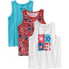 Garanimals Baby Toddler Girl Essentials Summer Tanks, 3-Pack
