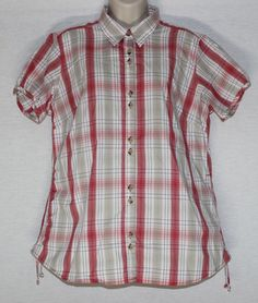 Columbia XL Plaid Fitted Stretch Cinch Side Blouse Top Shirt  #Columbia #Plaid #Fitted #Stretch #Cinch #Blouse #Top #Shirt #Casual