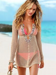 linen beaded cover-up