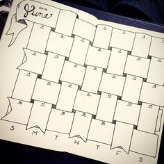 My first bullet journal monthly spread. #bujo#june#calendar#diy