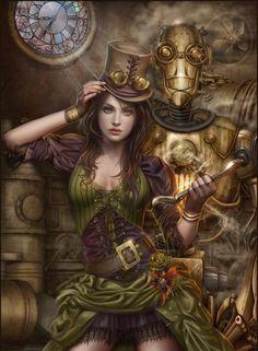 Ex Machina by Cris Ortega #Robot #Steampunk #FantasyArt #Beauty