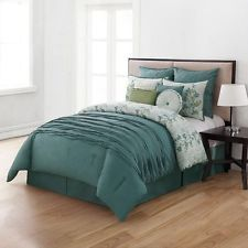 Home Classics Teal Bloomfield 10 PC King Comforter Set- NWT- MSRP $349