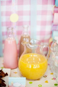 orange juice, strawberry and chocolate milk for pj and pancake party  **don't forget fun cups and straws**