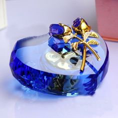 Heart shaped music box with crystal details
