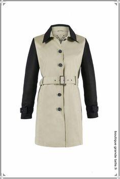 Trench stylé bicolore, beige et noir, manche simili cuir. Grande taille du 44 au 66 (style Burberry).
