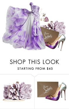 Purple flowers by vampire-kate on Polyvore featuring Christian Louboutin and JustFab
