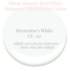Decorator's White Slightly cool with gray undertone. Think crisp white shiplap. Home Bunch's Best White Benjamin Moore Paint Colors Benjamin Moore Cloud White, Benjamin Moore Paint, Decorator White Benjamin Moore, White Exterior Paint, Exterior Paint Colors, Wall Exterior, Neutral Paint Colors, Paint Colors For Home, Calming Colors