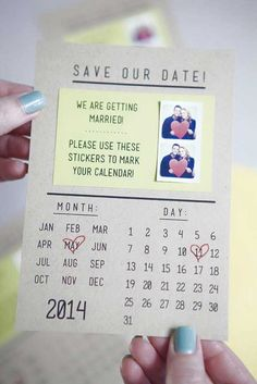 Love this idea! DIY Wedding Save-the-Date Invitations ~ print mini sticker-pictures include them on the invitation so your guests can mark their calendars. Cute Wedding Ideas, Perfect Wedding, Dream Wedding, Wedding Day, Wedding Inspiration, Trendy Wedding, Wedding Ceremony, Wedding Venues, Wedding Stuff