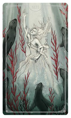The Queen of Cups by Eden Cooke A card that represents intuition, compassion, water, the depths of ourselves and a call to turn inwards. A good reminder to remain true to yourself and not be lost in the wishes of others. Also - selkies!