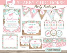 Set of 20 Horse Invitation Package Shabby Chic Horse Riding Birthday Party Handmade Kraft Brown Wood Envelopes Teal Pink Country Farm by mimsysnest on Etsy https://www.etsy.com/listing/261820182/set-of-20-horse-invitation-package