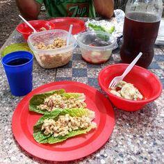 "#vegan #picnic spread: ""chicken"" salad lettuce wraps with cucumber and tomato salad, sweet tea, & banana nut bread (not pictured). #vegansofinstagram #whatveganseat #veganfood #veganfoodshare #veganfoodporn #vegansofig #healthy #latergram #alfresco #Chesapeake #ChesapeakeVA #NorthwestRiverPark #veganinva"