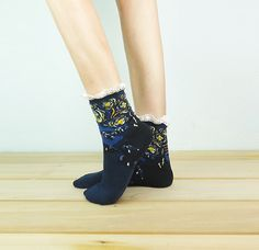 The Starry Night Lace Socks Ankle Socks Painting Socks by ogood