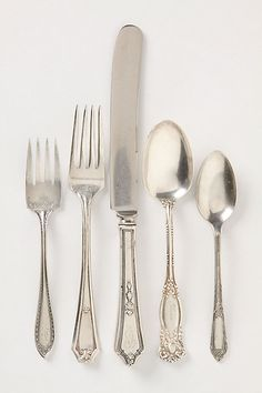Mismatched flatware. I love this (and may have pinned it already). I have lots of mismatched stainless flatware because it's easier to care for, but one of my favorite vintage patterns is in this set. And I think the variety of monograms is charming, too.