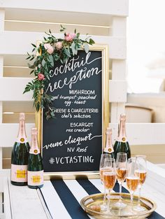 Love the floral garland, but chalkboard too trendy- do white background with gold calligraphy