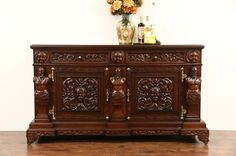 "~ Italian Renaissance Carved 1900 Antique Walnut 76"" Sideboard, Server, or Console ~ (See Full Set) ebay.com"