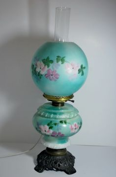 Antique Victorian Gone with the Wind Hand Painted Blue Green Globes Table Lamp