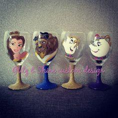 Beauty and the beast wine glass set - Available from Glitzandshinecustom on Etsy