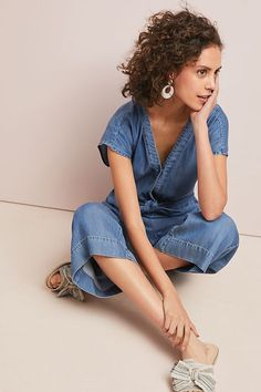 bb9f42ae5a6 Splendid Bow-Tied Chambray Jumpsuit